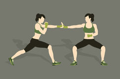 Young woman fighting body combat. Two attractive athletic girls fighting. Vector illustration Royalty Free Stock Photography