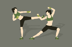 Young woman fighting body combat. Two attractive athletic girls fighting. Vector illustration Stock Photo