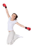 Young woman in fighting gloves Royalty Free Stock Image