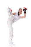 Young woman in fighting gloves Stock Photos