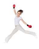 Young woman in fighting gloves Royalty Free Stock Photo