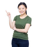 Young woman finger point up Royalty Free Stock Photo