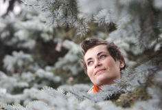 Young woman with fir tree Stock Image