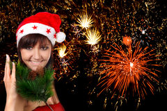 Young woman and firework stock photography