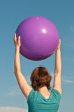 Young Woman with a Fitness Ball Royalty Free Stock Photo