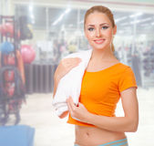Young woman at fitness club Royalty Free Stock Image