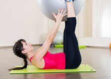 Young woman fitness workout in gym with fitball Royalty Free Stock Photo