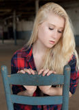 Young Woman in Flannel Shirt Stock Photos