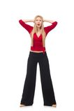 Young woman in flared pants isolated on white Royalty Free Stock Photo