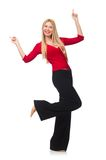 Young woman in flared pants isolated on white Royalty Free Stock Photography