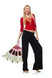 Young woman in flared pants isolated on white Stock Photography