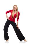 Young woman in flared pants isolated on the white Stock Image