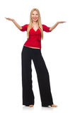 Young woman in flared pants isolated on white Stock Image