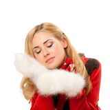 Young woman with fleecy mittens Royalty Free Stock Images