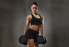 Young woman flexing muscles with dumbbells in gym. Fitness, sport, exercising, training and people concept - young woman flexing muscles with dumbbells in gym Stock Images