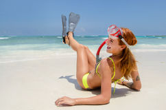 Young woman with flippers Royalty Free Stock Image