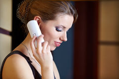 A young woman flirting  on the phone Stock Photo