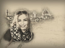 Young woman in Florence, pencil drawing Royalty Free Stock Photography