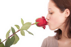 The young woman with a flower. The young girl kisses a red rose royalty free stock images