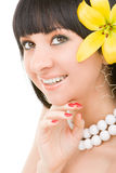 Young woman with flower Royalty Free Stock Photos