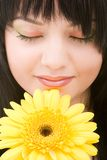Young woman with flower Stock Photo