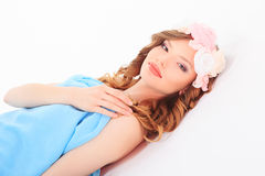 Young woman with Flower. Beautiful girl royalty free stock image