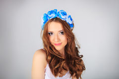 Young woman with Flower. Beautiful girl stock photo