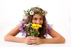 Young Woman With Flower Garland Stock Photography