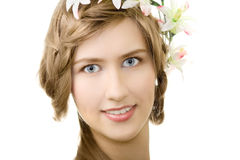 Young woman flower garland smile. Isolated Stock Photo