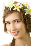 Young woman flower garland smile. Isolated Stock Image