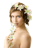 Young woman flower garland smile. Isolated Royalty Free Stock Photography