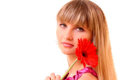 Young woman with flower isolated Royalty Free Stock Photos