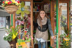 Young woman in the flower shop Stock Photo