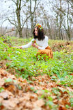 Young woman with flower wreath on her head autumn outdoors Royalty Free Stock Photography