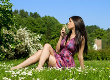 Young woman with flowers. Beautiful young woman sitting on the grass with flowers Stock Photography