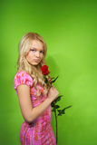 Young woman with flowers Stock Photography