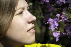 Young woman and flowers. Girl smelling rhododendron Stock Image
