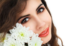 Young woman with flowers Stock Photos