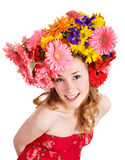 Young woman with  with flowers on her  hair. Stock Images