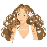 Young woman with flowers in her hair Royalty Free Stock Photo