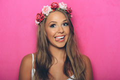 Young woman with flowers in her hair Stock Photo