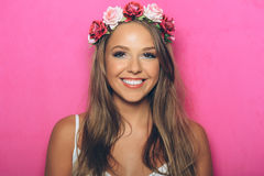 Young woman with flowers in her hair Royalty Free Stock Image
