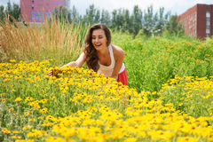 Young woman with flowers. Young woman with yellow flowers in the park Royalty Free Stock Images