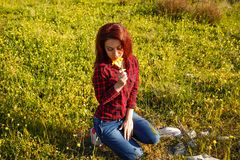 Young woman and flowers. Young pretty woman with yellow daisy flowers in field Stock Images