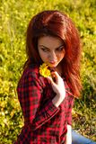 Young woman and flowers. Young pretty woman with yellow daisy flowers in field Stock Photos