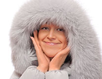 Young woman in fluffy hood Royalty Free Stock Photo