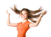 Young woman with fluttering hair Stock Photography