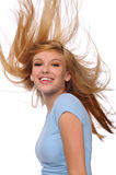 Young woman with flying hair Royalty Free Stock Photography