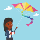 Young woman flying kite vector illustration. Royalty Free Stock Photo