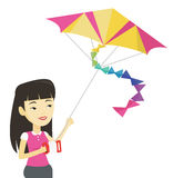Young woman flying kite vector illustration. Stock Image